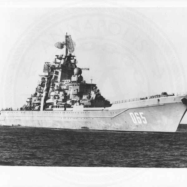 Official U.S. Navy photo the Soviet nuclear powered missile cruiser Kirov. - Annapolis Maritime Antiques