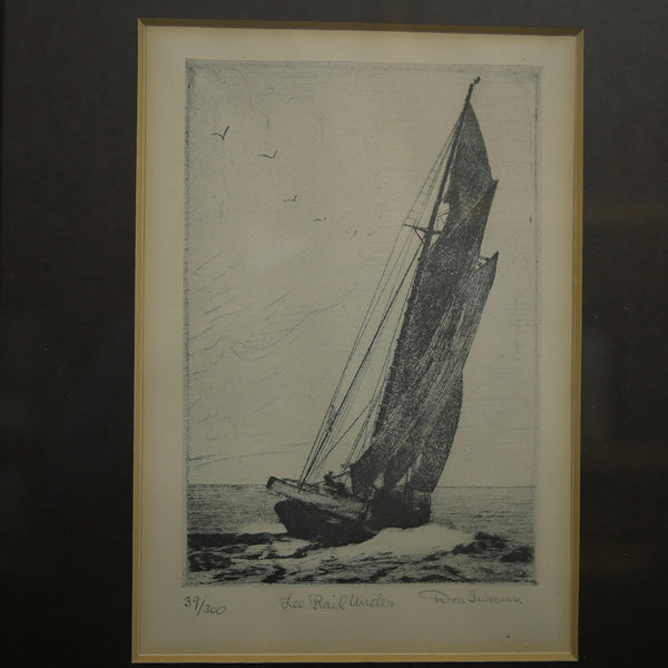 "Closeup of signed antique pencil etching of ""Lee Rail Under"" #39/300 by Don Swann"