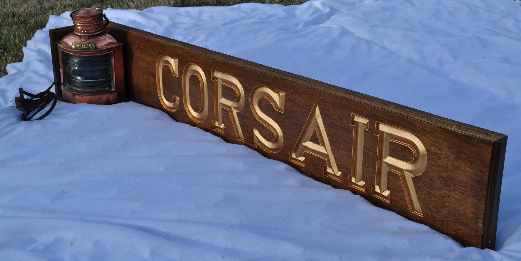 "Quarter Board, ""Corsair"", with Tung Woo Starboard Light - Annapolis Maritime Antiques"