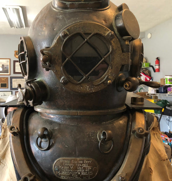 Diver Suit, Helmet, Belt, Knife, Boots, and Chestplate - Annapolis Maritime Antiques