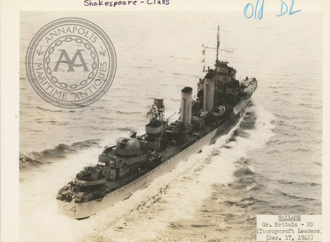 "British and Canadian ""Shakespeare"" Class Destroyers"