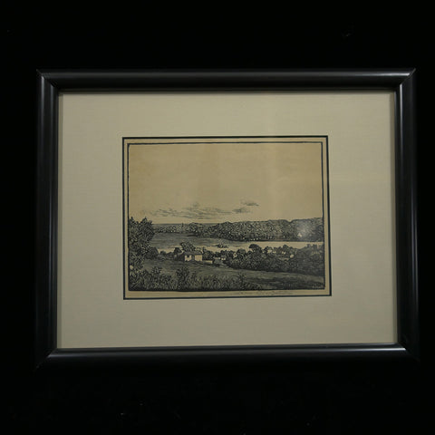 Signed antique pen and ink sketch of small seaside village by Massachusetts artist Addison B. LeBoutillier