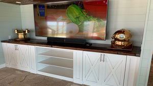 Custom Nautical Cabinetry with WWII Liberty Ship Hatch Cover Top.