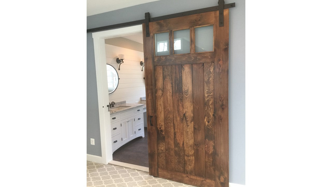 Barn Door with Glass Partitions and Custom Sliders
