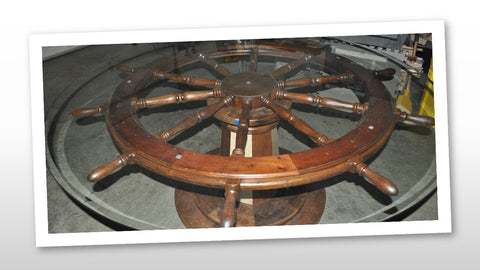 Large Ship's Wheel Conference Table with Custom Lighthouse Base and Glass Top