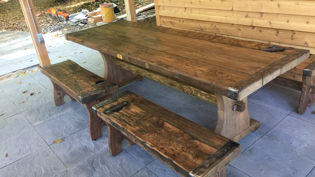 Reclaimed Wood Outdoor Table w/Two Benches