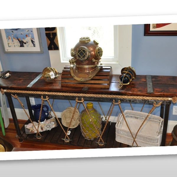 Nautical Pier Console Table Made from WWII Liberty Ship Hatch Cover