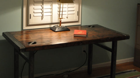 Liberty Ship Hatch Cover Desk w/Recycled Steel Custom Base