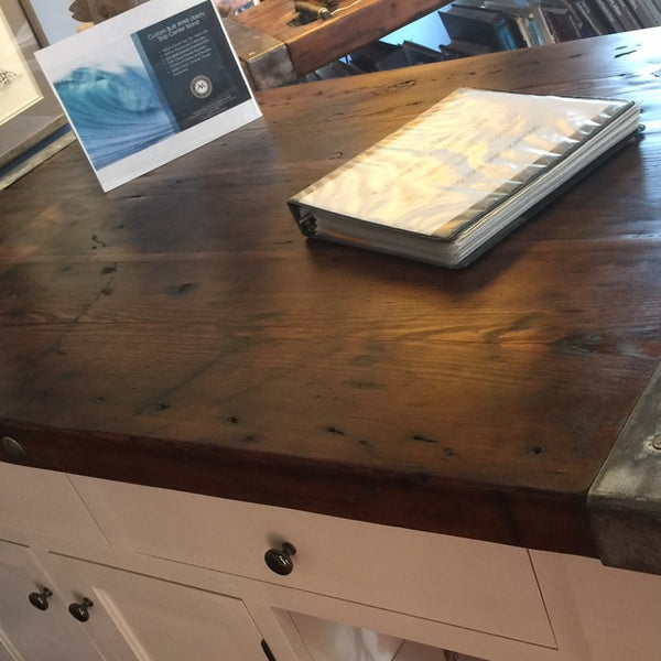 Kitchen Center Island w/Drawers, Storage and Shelving - Liberty Ship Hatch Cover Top