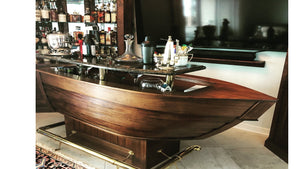 Boat Bar, Lapstreak Design,  Marble Top, Brass Supports, Brass Footrail, Wine and Liquor Storage