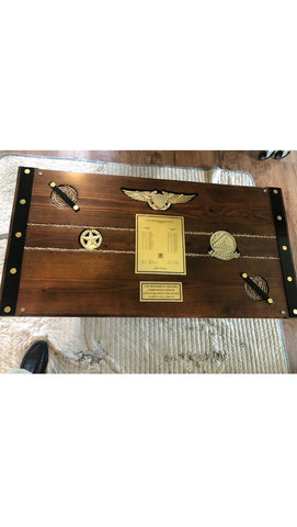 Liberty Ship Hatch Cover Custom Coffee Table w/Military Plaques Embedded