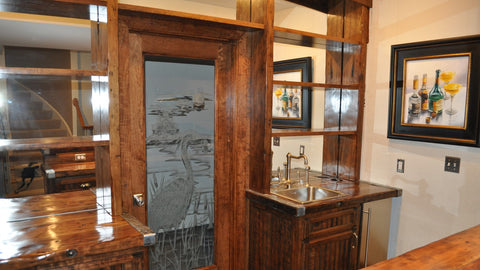 Bar , Shelving, Custom Door with etched glass