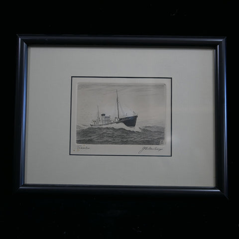 Antique pen and ink scene of trawler breaking through rough seas. Sketch framed in black frame.