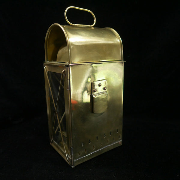 Rear view of Vintage solid brass Viking lantern