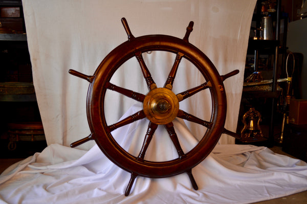 "Ship's Wheel, 42"" Dia., circa mid 1800's, with Mounting Shaft and Gear"
