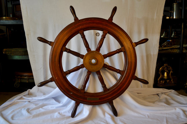 "Ship's Wheel, 43"" Dia., Teak and Holly with Mahogany Spokes - Annapolis Maritime Antiques"