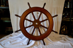 "Ship's Wheel, 43"" Dia., Teak and Holly with Mahogany Spokes"