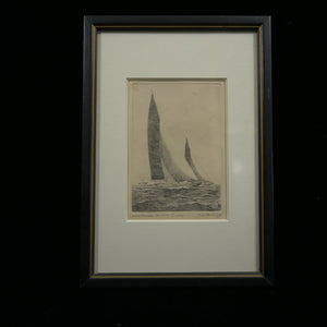Signed antique artwork pen and ink sketch of the Weetamoe Racing Yankee in black frame.
