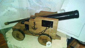 Cannon, Black Powder, Nautical With Nautical Wooden Carriage - Annapolis Maritime Antiques
