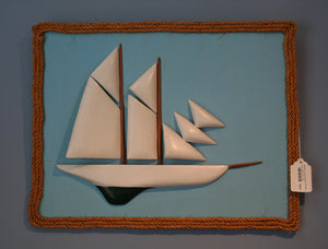 Artwork, Carved Sailboat with Rope Trim, Cape Cod, 1941 - Annapolis Maritime Antiques