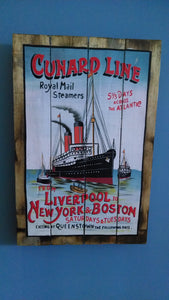 Sign, Wood, Cunard Line - Annapolis Maritime Antiques