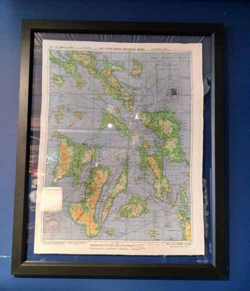 Art, Silk WWII Drift Map (Double Sided) Philippine Islands, Framed - Annapolis Maritime Antiques