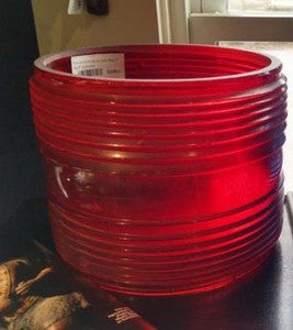 "Fresnel Drum Buoy Lens Red 7 Tall 8"" Diameter - Annapolis Maritime Antiques"