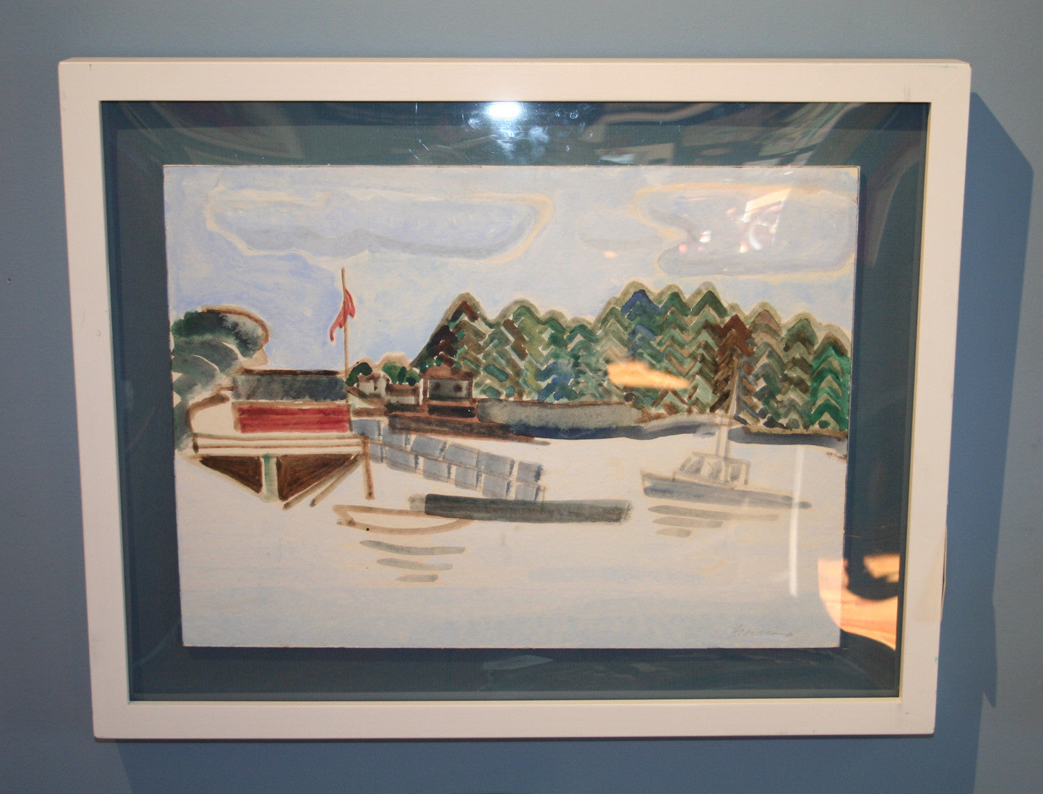 Original Watercolor, Hog Island Franciska Needham - Annapolis Maritime Antiques