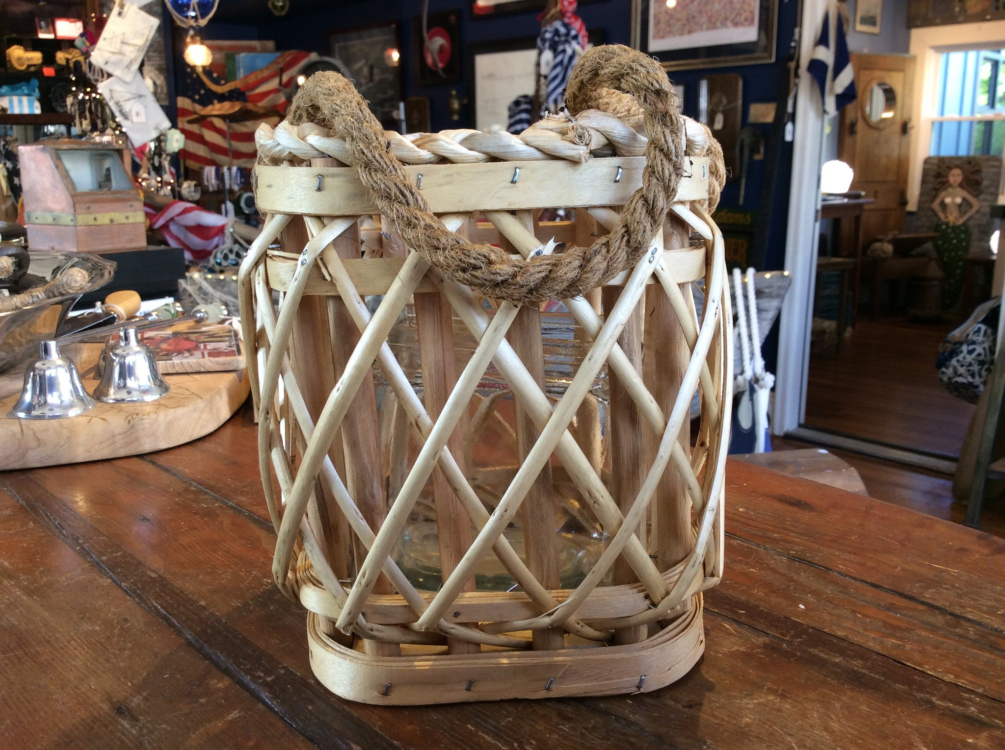 Lantern, Poplar Wood w/ Handle, Square, Small - Annapolis Maritime Antiques