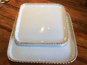 Tray/Platter, silver roped edges, light blue, small