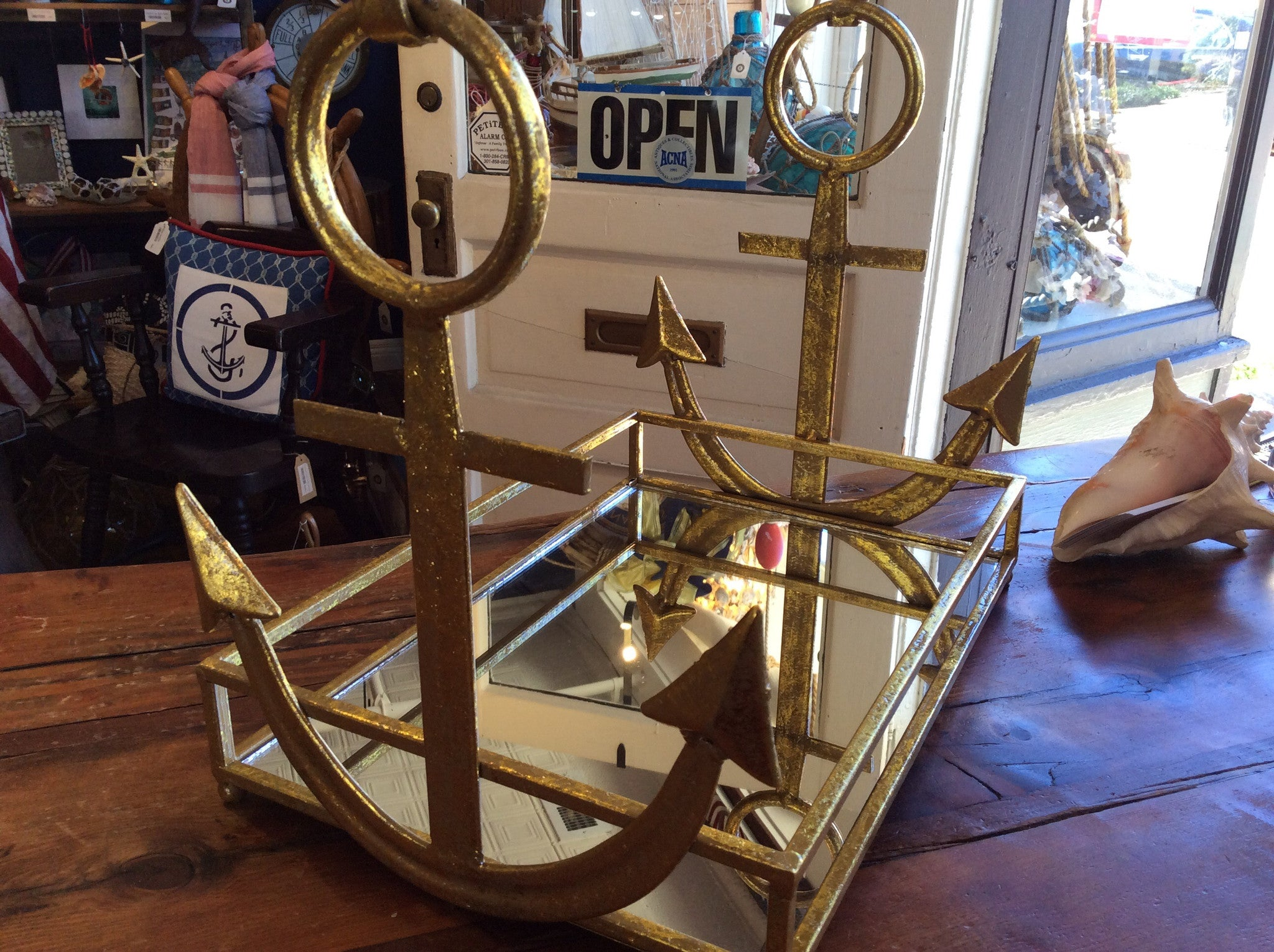 Tray, w/anchor and mirrored, gold - Annapolis Maritime Antiques