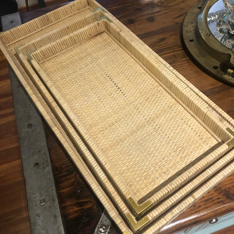 Oversized Woven Wicker Tray Set of Three - Annapolis Maritime Antiques