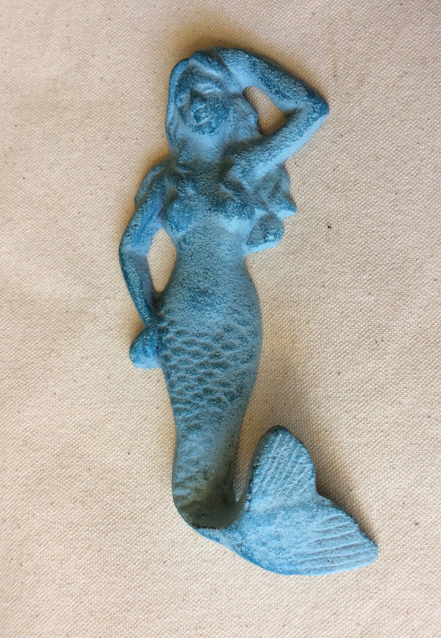 Mermaid Hook, Cast Iron, Blue