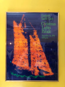 Framed poster, Eastport Yacht Club Christmas Lights Parade, 1991