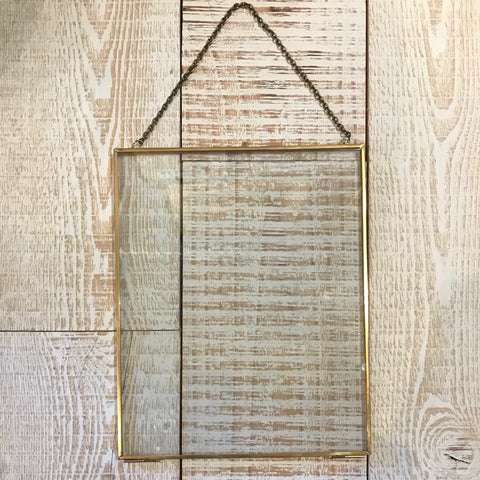Large Brass Rectangle Floating Frame - Annapolis Maritime Antiques