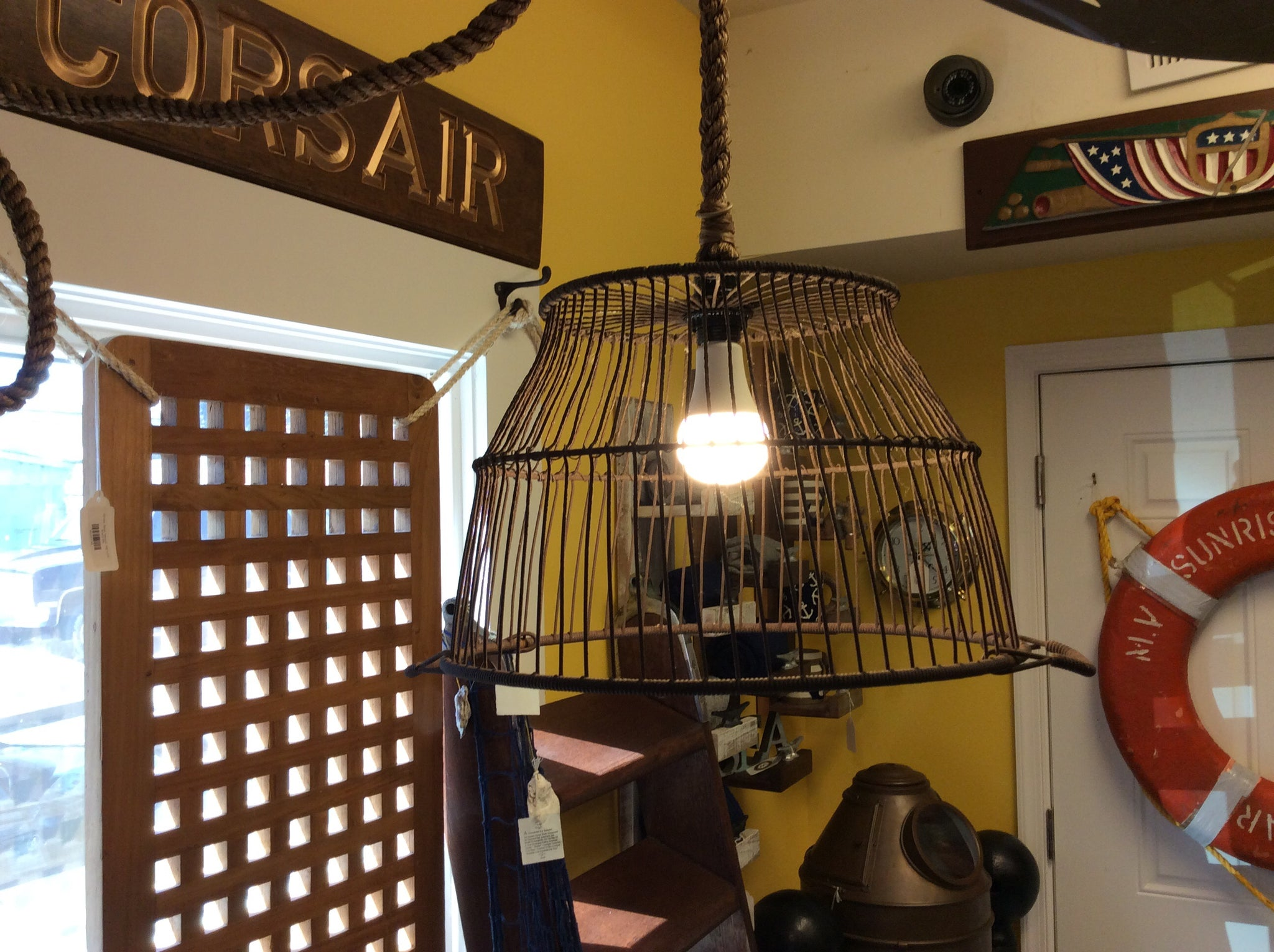 Oyster basket, hanging light fixture - Annapolis Maritime Antiques