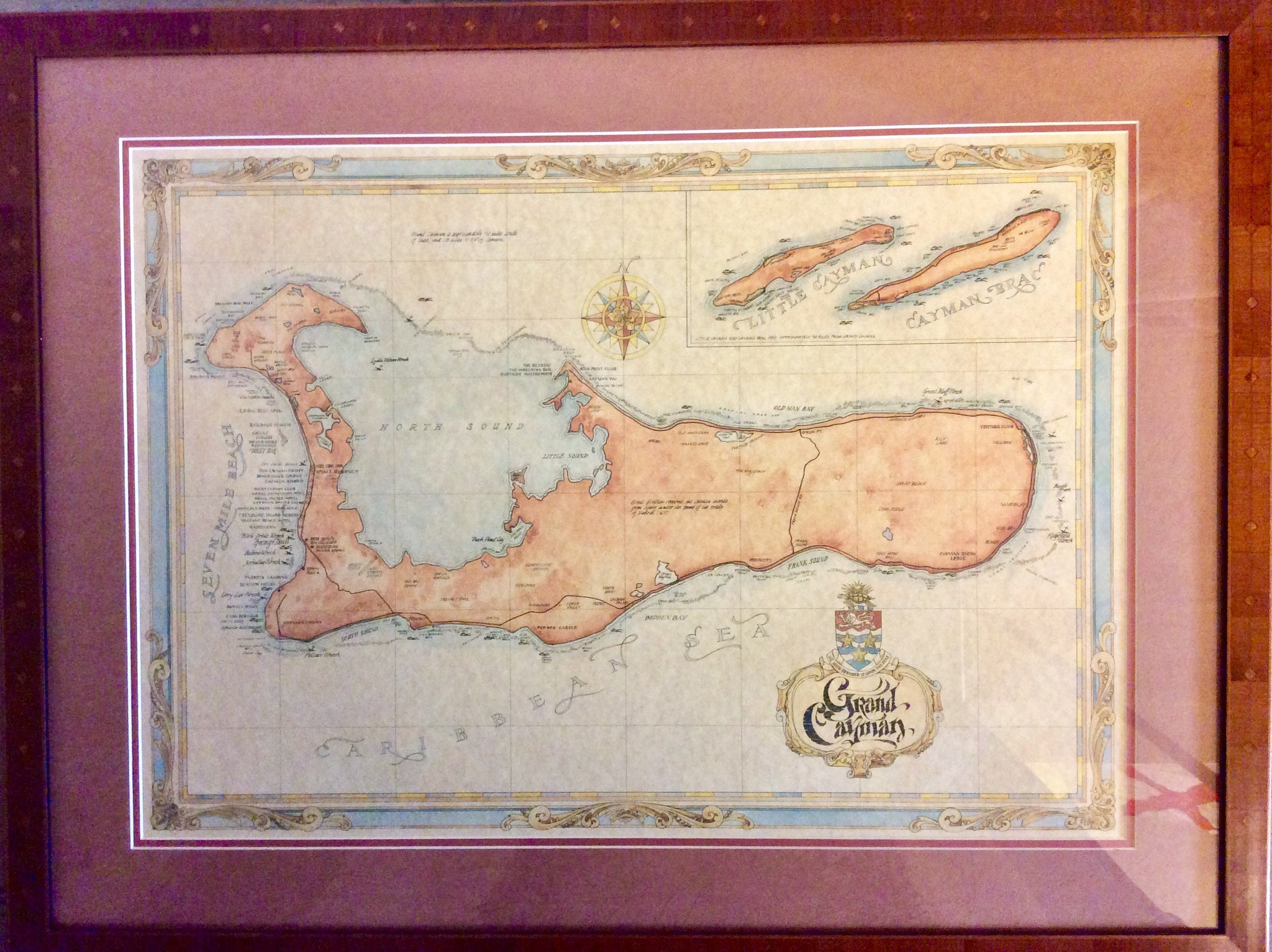 Art, Chart, Grand Cayman, Circa Late 1800's, framed - Annapolis Maritime Antiques