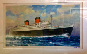 "Advertising Poster, ""Queen Elizabeth"", Cunard Line, circa 1950 - Annapolis Maritime Antiques"