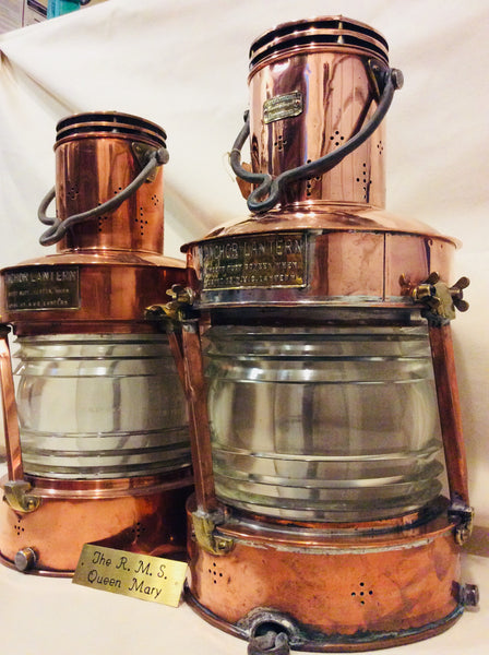 Lanterns, pair from RMS Queen Mary - Annapolis Maritime Antiques