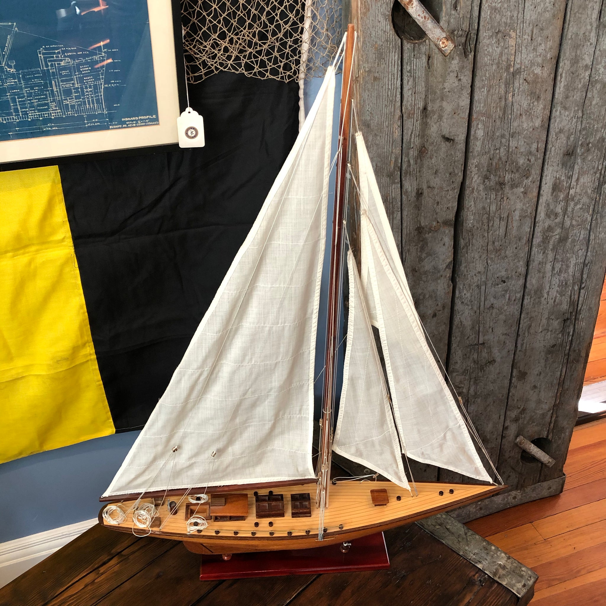 Sailboat Model, Dark Wood