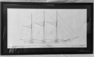 Art, Lucia A. Simpson, Framed sail plan, Works Progress Administration - Annapolis Maritime Antiques