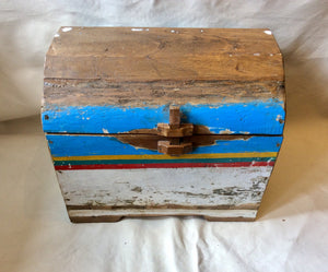 Trunk, Colorful Hand Made Iron Wood - Annapolis Maritime Antiques