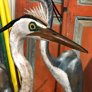 Spike Blue Heron, Wood Carving