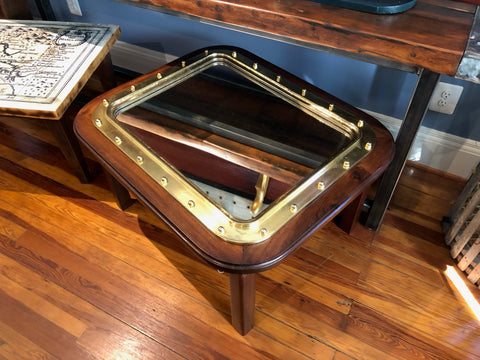 Coffee Table, Rectangular Porthole, Mirror Insert, Brass and Mahogany