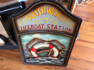 Sign, 3-D, Southworld Lifeboat Station, Hand-carved and Hand-painted