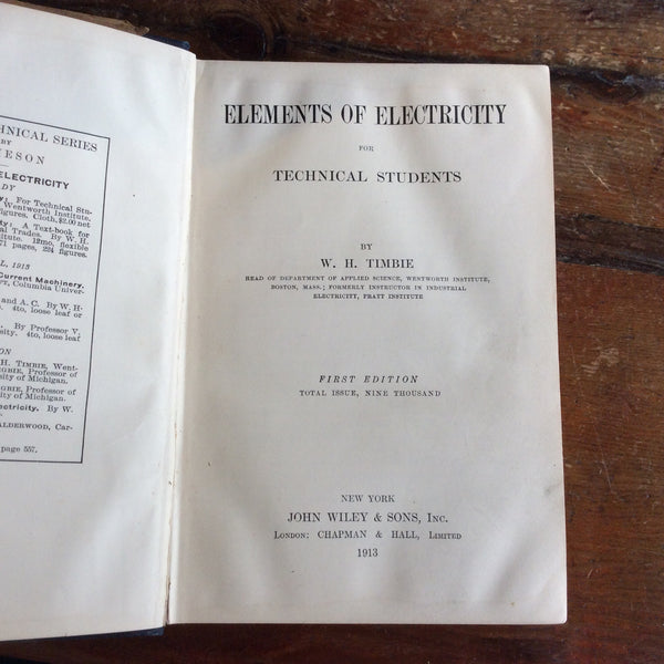 "Book; ""Elements of Electricity"" for Technical Students - Annapolis Maritime Antiques"