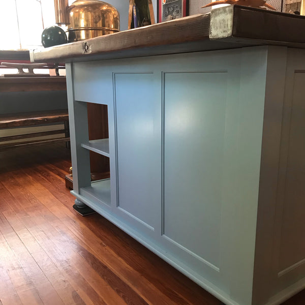Kitchen Center Island with Liberty Ship Hatch Cover Top - Annapolis Maritime Antiques