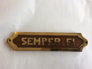 Sign, Wood and Brass, Semper Fi, 9""