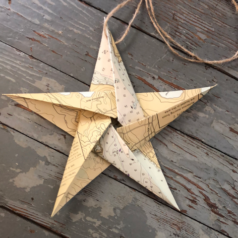 Nautical Chart Star Ornament