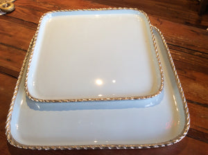 Tray/Platter, silver roped edges, light blue, large - Annapolis Maritime Antiques